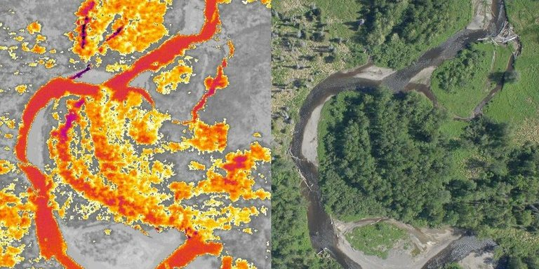 Thermal infrared imagery (left) with corresponding aerial image (right) showing cold water inputs (purple) to the mainstem of the Anchor River (orange)